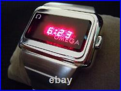 Vintage Omega Time Computer LED LCD Digital Watch Rare One Button SS TC1