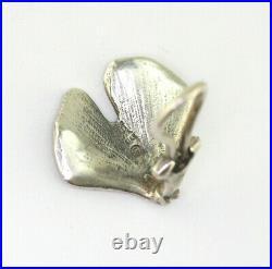 Vintage RARE James Avery Sterling Silver Gingko Leaf Omega Back Clip Earrings