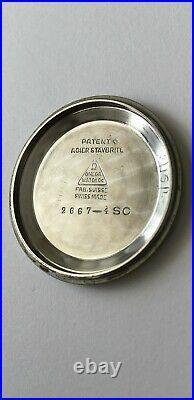 Vintage RARE Omega Black Honeycomb Dial Two Tone Case Bombe Lugs Ref. 2667-4 SC