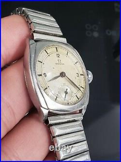 Vintage Rare 1930 Omega Cushion Case Sector Dial Cal. 26.5 SOB 31mm Mens Watch