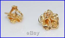 Vintage Rare Authentic Tiffany & Co 14K Gold Diamond Rose Flower Omega Earrings