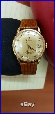 Vintage, rare Omega 18 k gold, calendar, diamond men watch, Cal 610