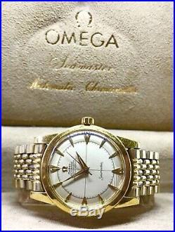 Vntg Omega Seamaster Chronometer 18K Solid Gold W Beads Of Rice & Rare Omega Box